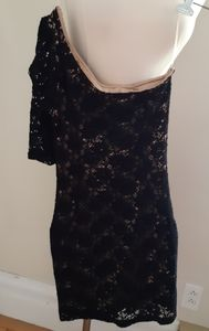 Hot Miami Style Black Lace Puffy One Shoulder Dres